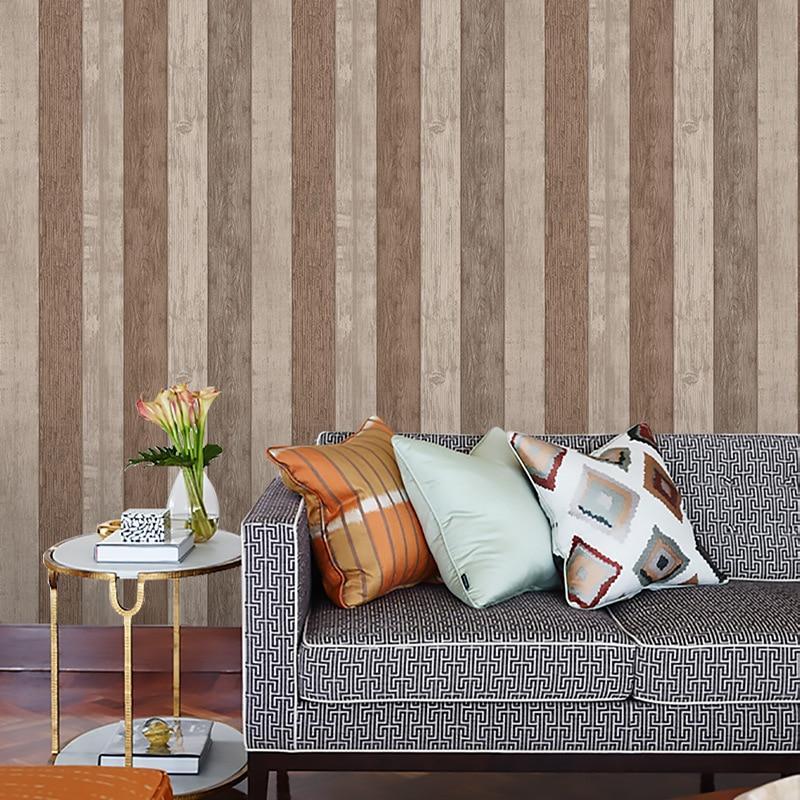 Beibehang style européen rétro bois texture non-tissé papier peint nostalgique salon étudiant dortoir salon de thé papier peint