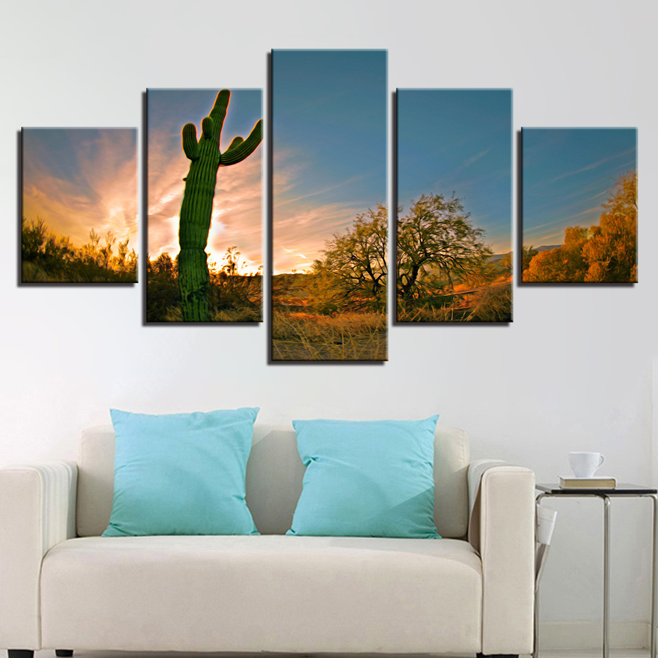 Canvas Painting Living Room Decor 5 Pieces Plants Cactus Field Beautiful Nature Pictures Modular Print Poster Wall Art Framework