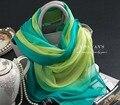 Подлинная Шелковый Шарф Платок Богемный Шарфы Китай Зеленый Градиент Многофункциональный Шелковые шарфы Оптовая Весной и Летом Пашмины