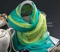 Genuine Silk Scarf Shawl Bohemian Scarves China Green Gradient Multifunction Silk scarfs Wholesale Spring and Summer Pashmina