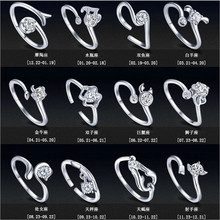 Jewelry Zodiac Ms. s Silver Plated Rings Vintage Couple Zircon Hot Selling Opening Ring For Women Wedding(China)