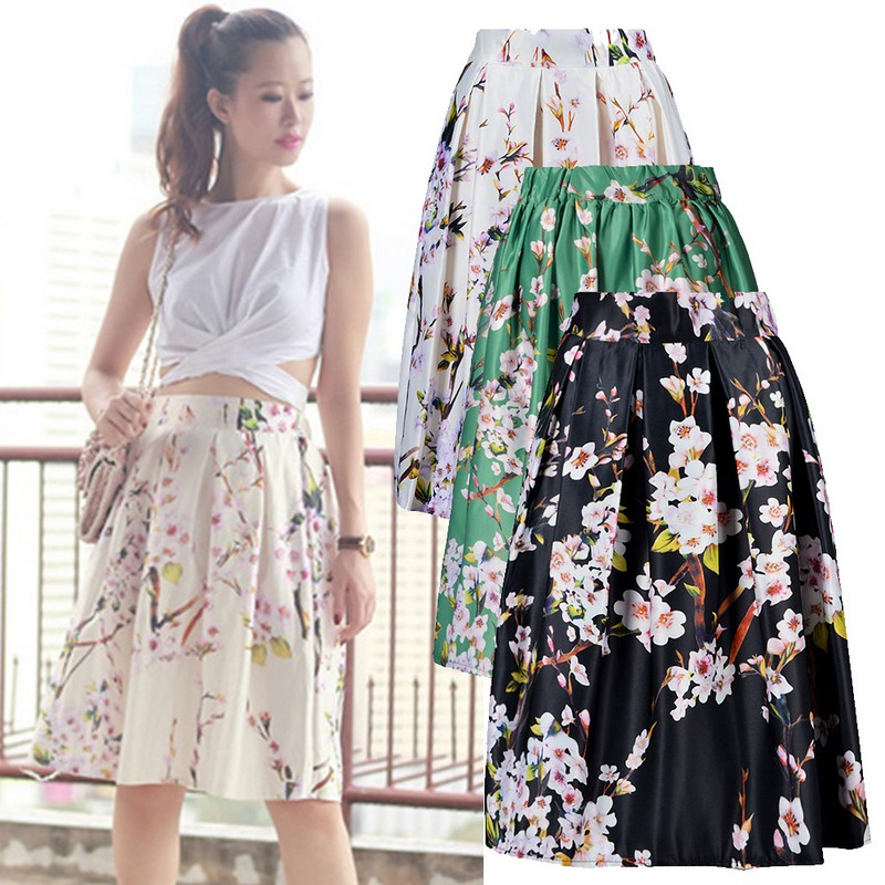 Online Get Cheap Floral Long Skater Skirt -Aliexpress.com ...