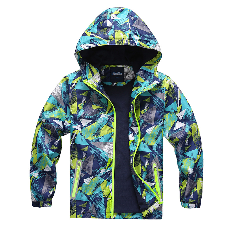 Outdoor Casual Fleece Jacket Warm Hooded Coat Kids School Clothes Brand Sport Outwear Children's Windbreakers for Boys 3-12Years