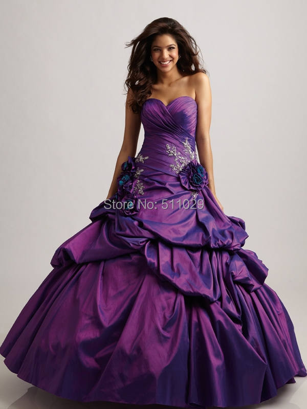 FREE SHIPPING QU 138 Ball gown purple wedding dress dark purple ...