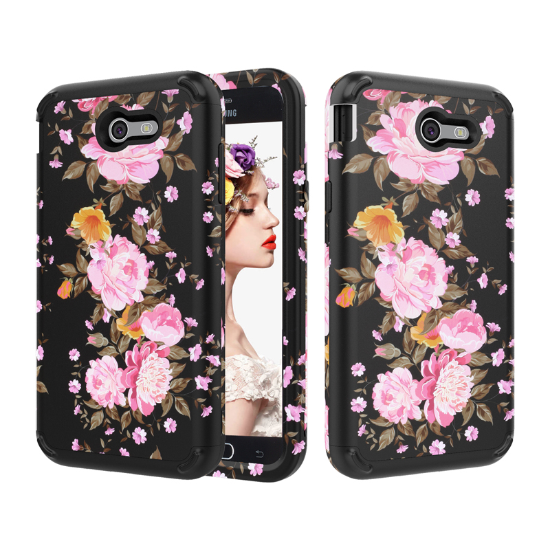 For Sam J7 2017 Shockproof Flower Phone Cases ,PC+TPU 3-Layers Hybrid Full-Body Protect Case for Samsung Galaxy J3 2017 Shell