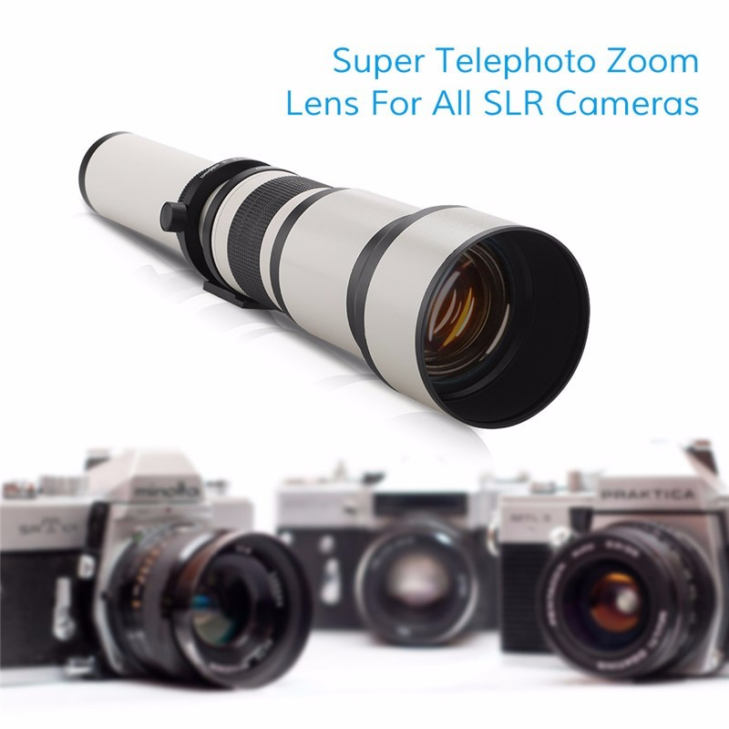 Lightdow 650-1300mm F8.0-F16 Super Telephoto Manual Zoom Lens + T2-AI untuk Nikon D3100 D3200 D5000 D5100 D5200 D7100 DSLR Camera