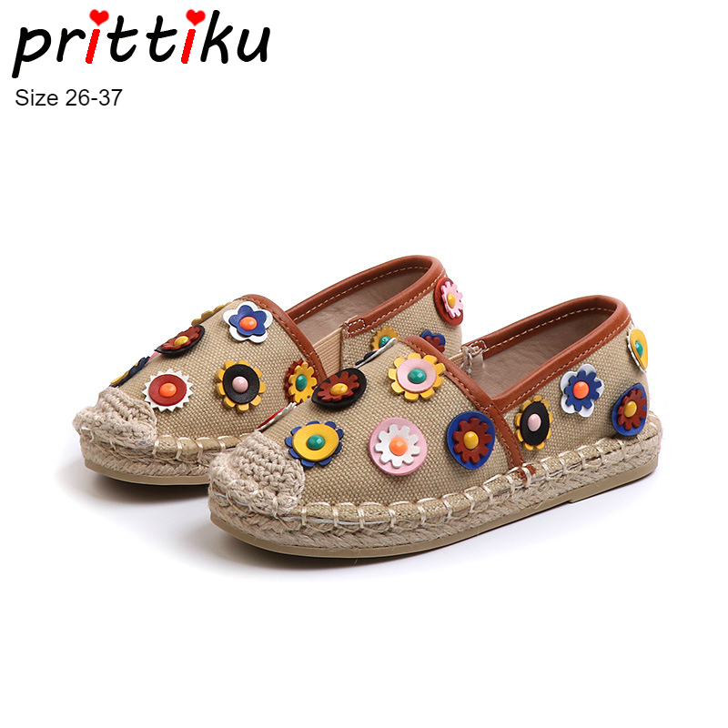 59a6642b009 Autumn 2018 Toddler Girls Flower Espadrille Flats Little Kid Fashion Canvas Loafers  Sneakers Big Children Designer Brand Shoes