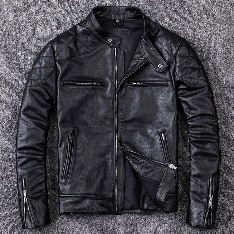HTB1ifAtajzuK1RjSspeq6ziHVXag Brand new style motor style leather jacket,mens genuine leather coat.plus size black slim jacket.cowhide.cheap