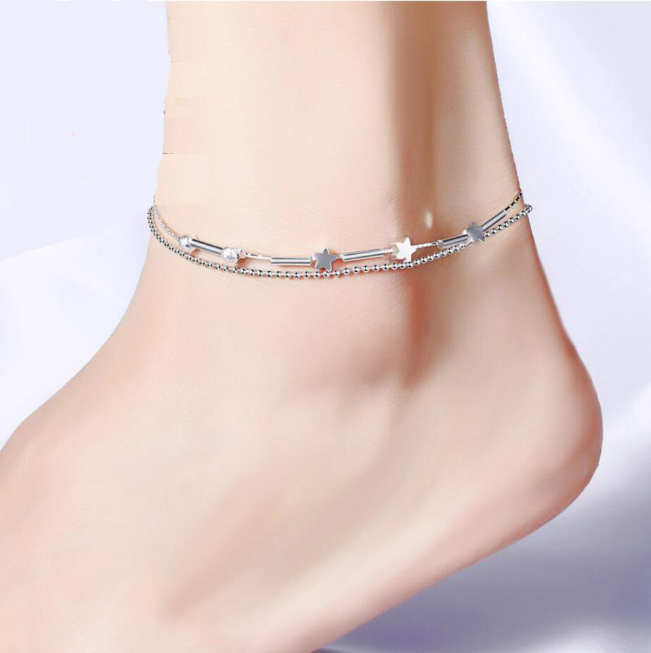 MEEKCAT 925 Sterling Silver Anklet fine Fashion Jewelry Simple Foot Chain For Women Girl S925 Silver Ankle Chain Leg Bracelet