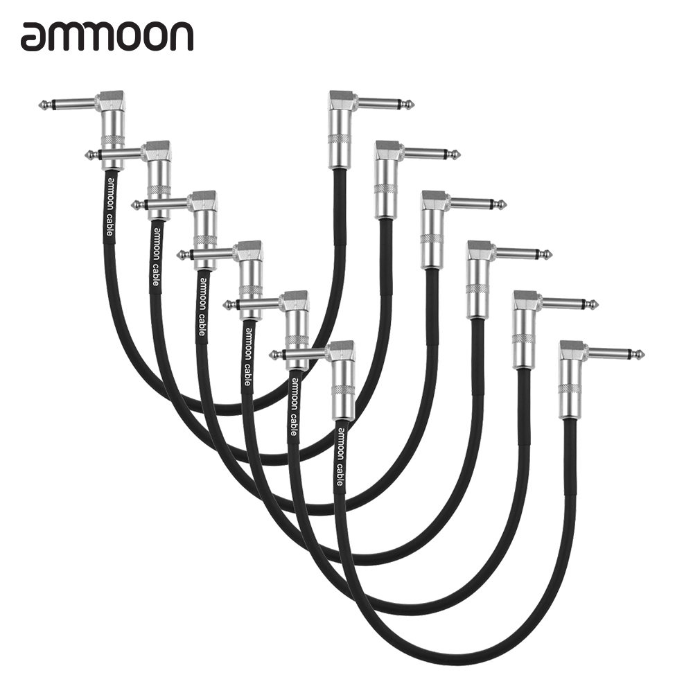 ammoon 6-Pack Guitar Effect Pedal Cable Instrument Patch Cable 30cm/ 1.0ft Long with 1/4 Inch 6.35mm Silver Right Angle Plug