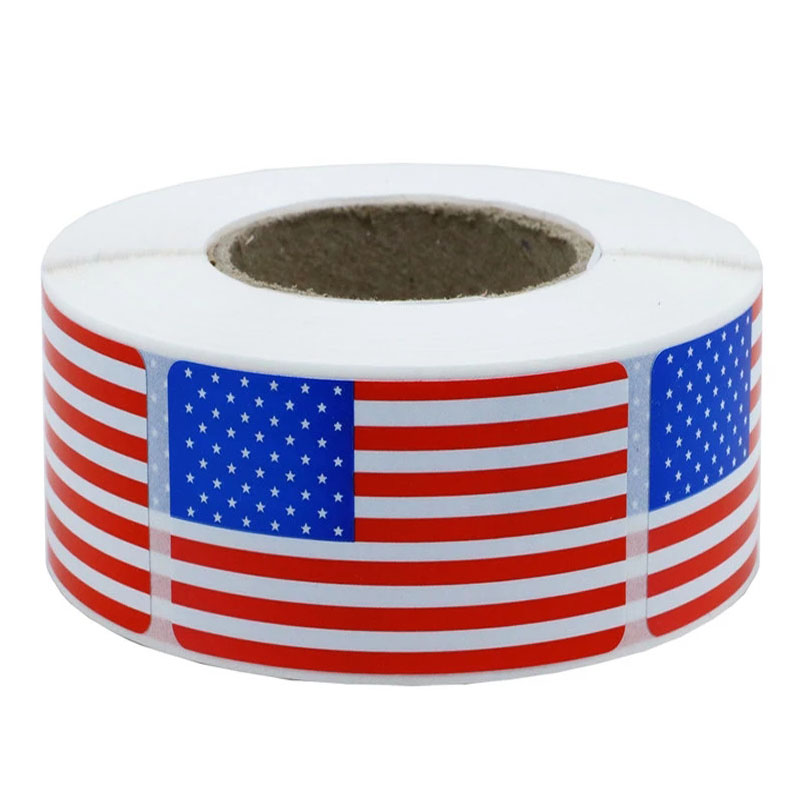 250Pcs/roll American Flag Stickers Patriotic Sticker Scrapbooking For Decoration Labels USA Bullet Journal Stickers Stationery