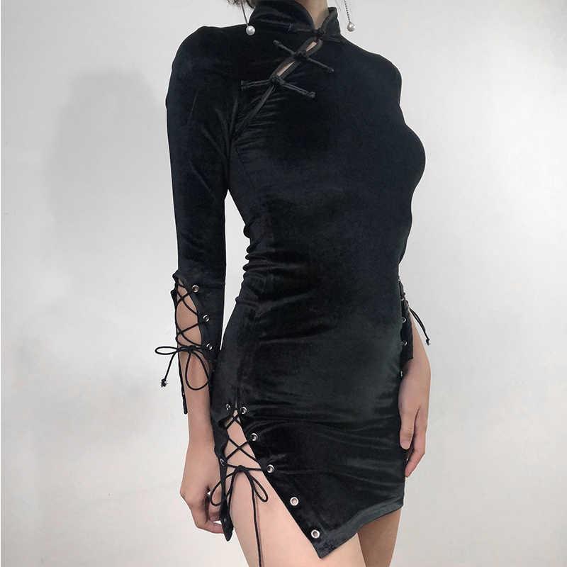 Junnior High Spilt мини сексуальное обтягивающее платье Бандажное готическое платье одежда для клуба китайский стиль Cheongsam Culb одежда 2019 Vestidos