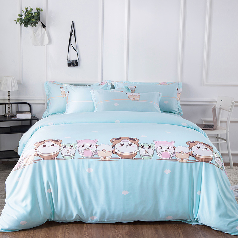 New Tencel Silky Smooth Bedding Set Cool and Refreshing Cartoon Duvet cover set Bed sheet Pillowcases Queen King size 4PcsNew Tencel Silky Smooth Bedding Set Cool and Refreshing Cartoon Duvet cover set Bed sheet Pillowcases Queen King size 4Pcs