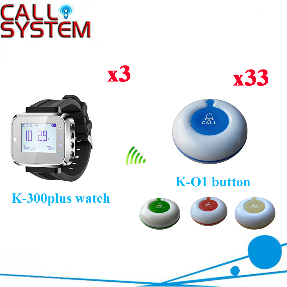 Waiter Calling System Watch Pager Service Button Wireless Call Bell Hospital/Restaurant Paging(3 watch+33 call button) one set wireless system waiter caller bell service 1 watch wrist pager with 5pcs table customer button ce passed