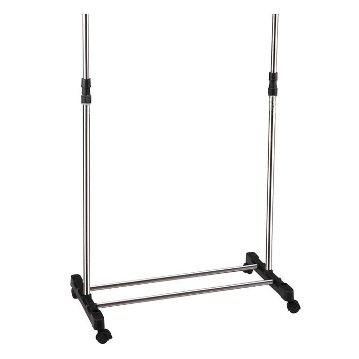 HOT GCZW-IKAYAA Adjustable Castor Wheels Rolling Garment Rack Rail Clothes Hanger AD Z7X7