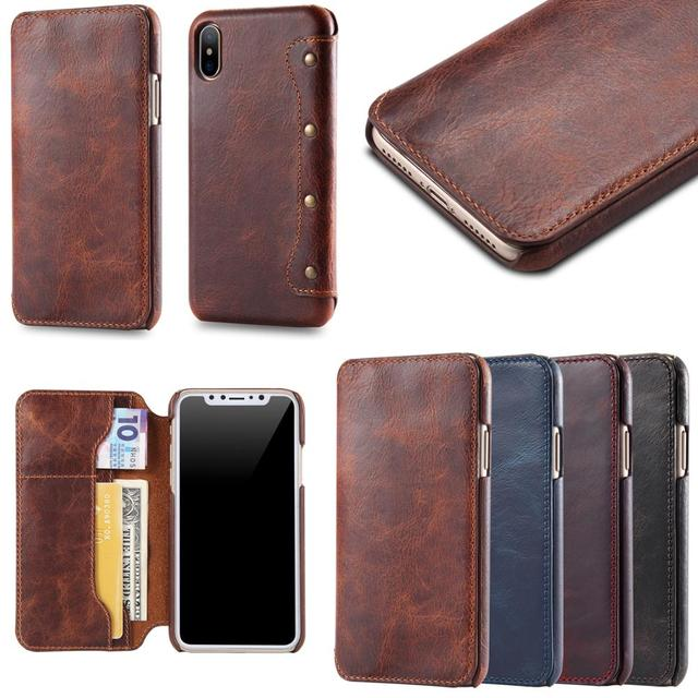 on sale b6987 47d66 US $18.6 |Luxury Business Style Genuine Real Leather Wallet Case For iPhone  X Flip Case Cover Ultra Thin Card Holder Phone Case-in Flip Cases from ...