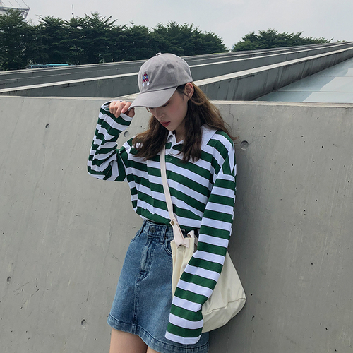 Loose Casual Vintage  Striped Basic All Match College Wind Long Sleeve Turn Down Collar Female Women Basic T-shirts 3