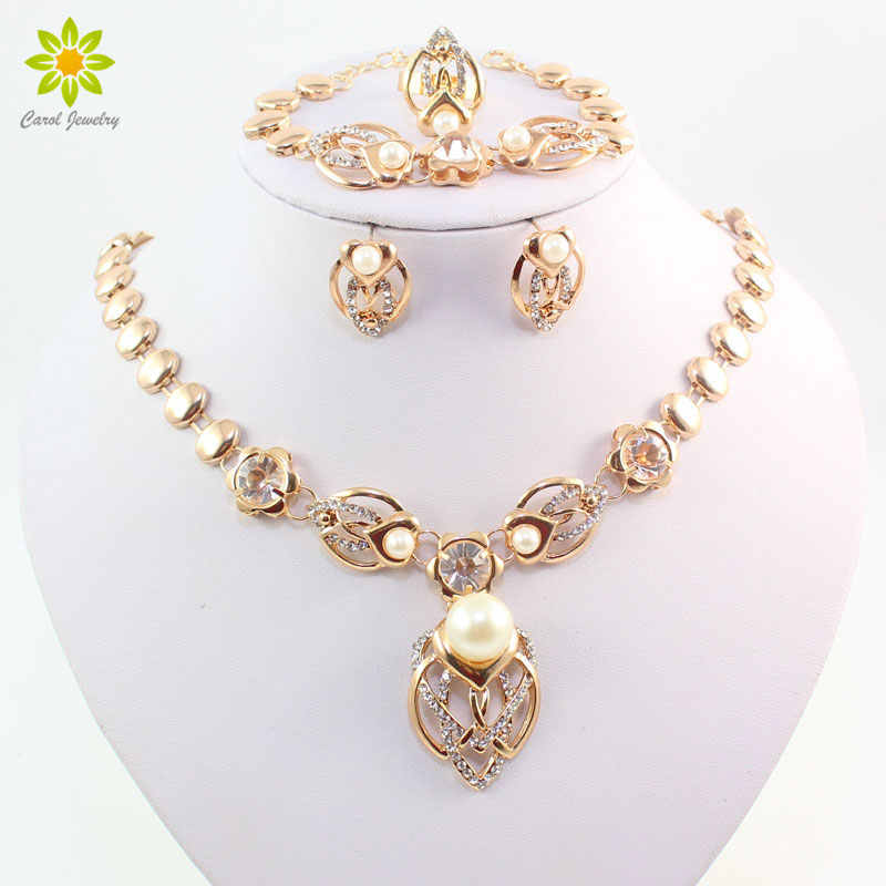 Gold Color Imitation Pearl Wedding Costume Necklace Earrings Sets Fashion Romantic Clear Crystal Women Party Gift Jewelry Sets