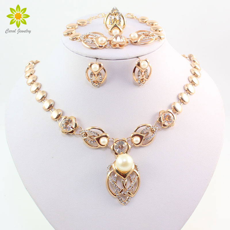 Gold Color Imitation Pearl Wedding Costume Necklace Earrings Sets Fashion Romantic Clear Crystal Women Party Gift