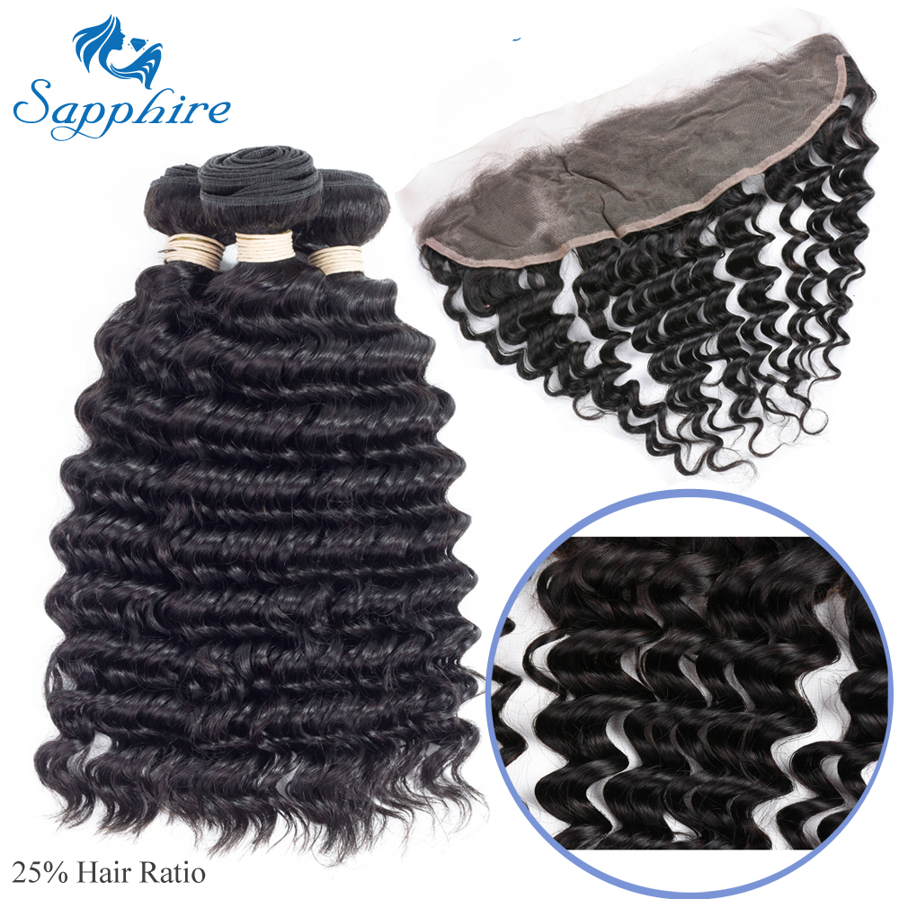 Sapphire Loose Deep Curly Remy Human Hair Bundles With Lace Frontal Natural Color For Hair Salon