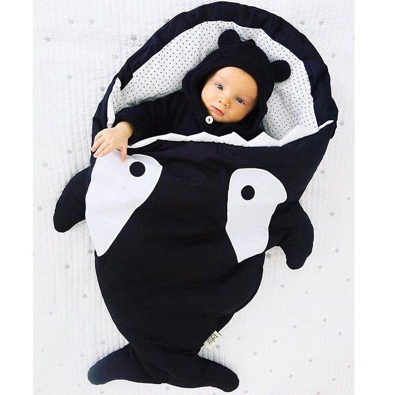 Infant Newborn Baby Cartoon Winter Quilt Shark Sleeping Bag Plush Thick Cotton Baby Girl Boy