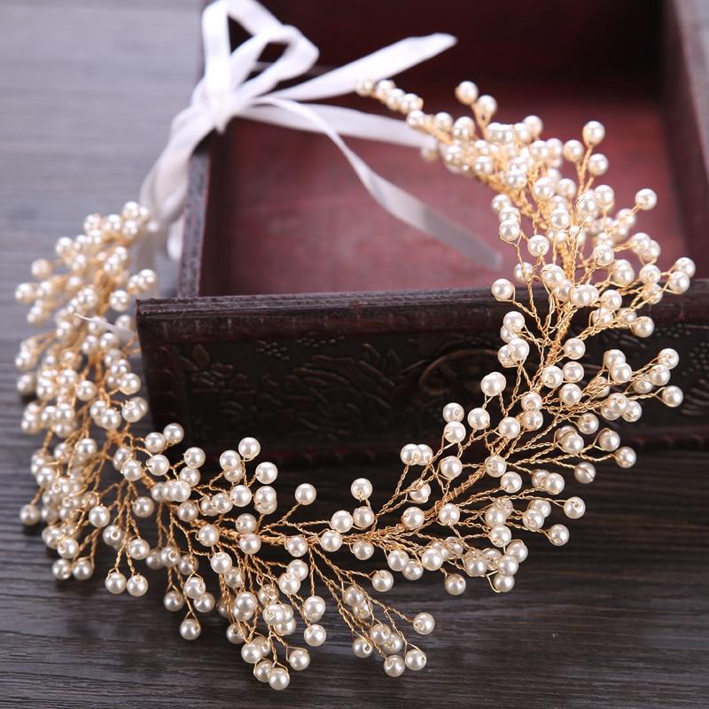 2018 European Bridal Tiara Golden Crown Full Pearls Star Wedding Hair Accessories Jewelry Adjustable Ribbon Headband Party Gifts