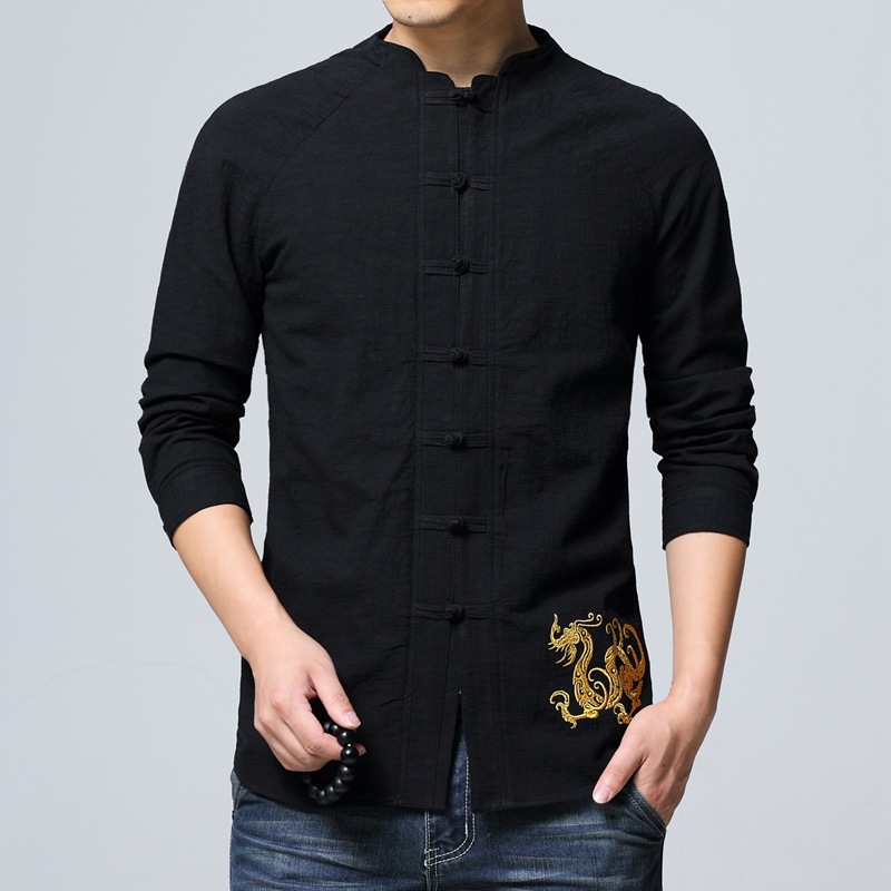 Chinese Style Long Sleeve men Shirt Asia size mens shirts White black green red shirt men embroidery