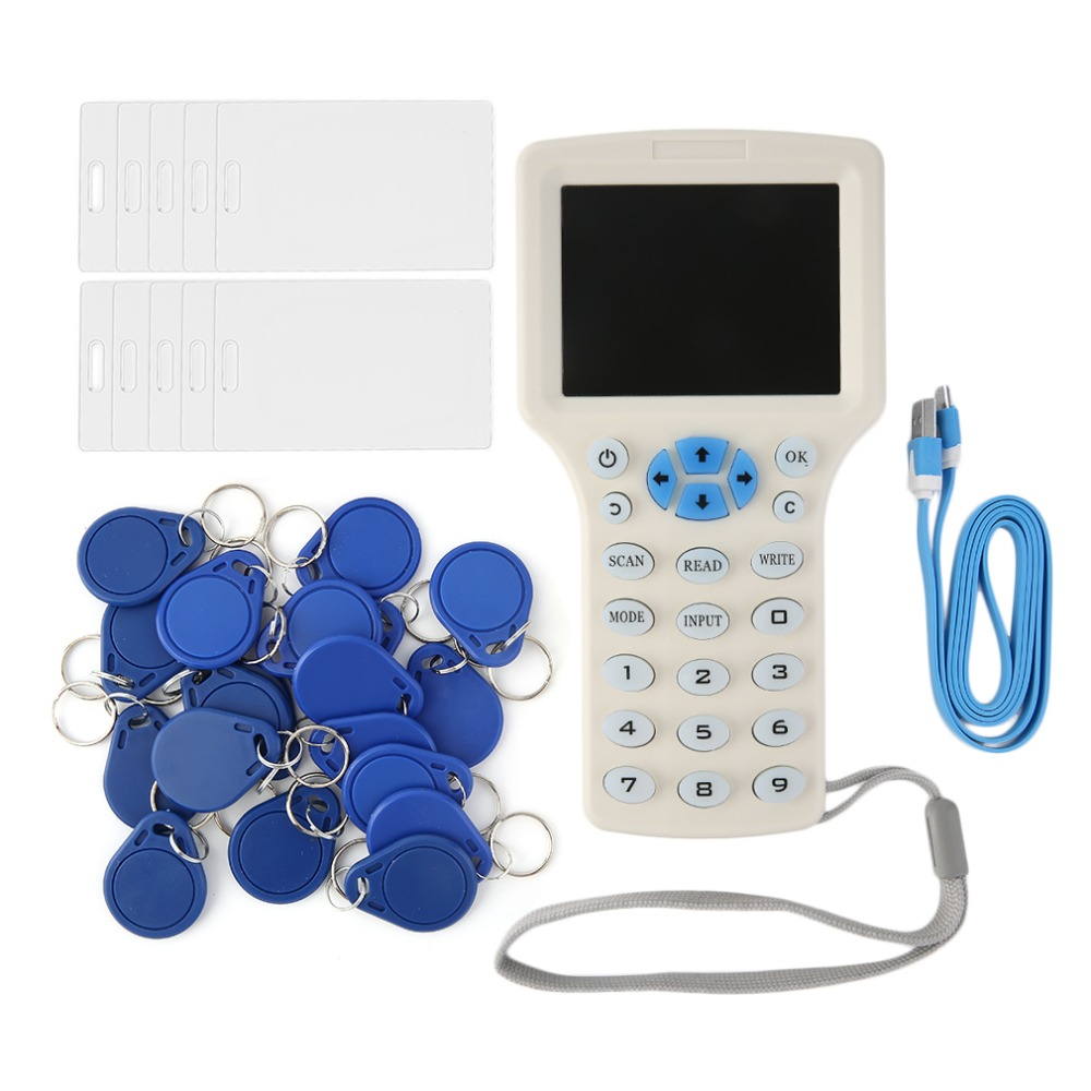 English 10 frequency RFID Copier ID IC Reader Writer copy M1 13.56MHZ encrypted Duplicator Programmer USB NFC UID Tag Key CardEnglish 10 frequency RFID Copier ID IC Reader Writer copy M1 13.56MHZ encrypted Duplicator Programmer USB NFC UID Tag Key Card