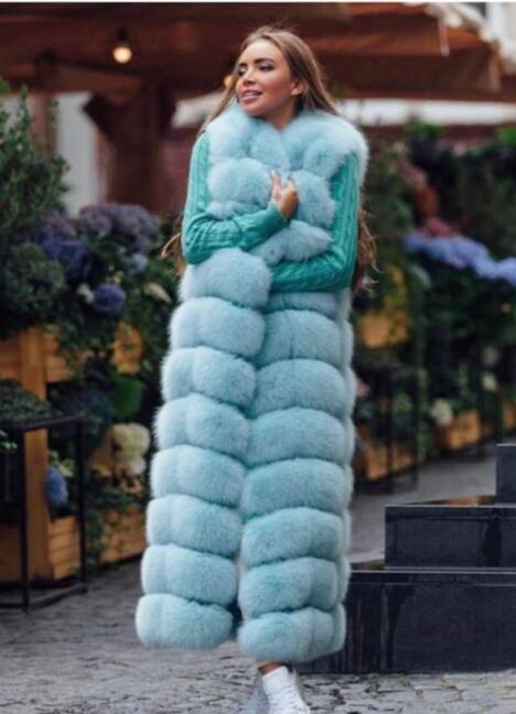 Marque célèbre Célébrités star haute rue x-long 120 cm femmes réel fourrure de renard gilets de luxe ultra long manteaux de fourrure