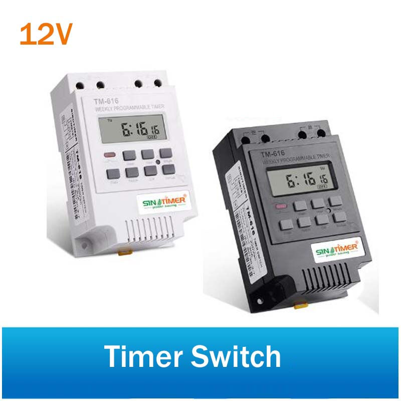 SINOTIMER 30AMP Weekly Programmable Digital TIME SWITCH Relay Control Timer 12V Din Rail Mount, One Year Quality Guaranty