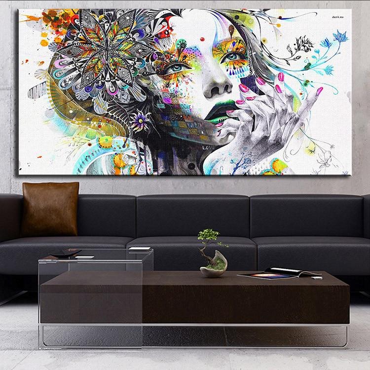 DP artisan arte moderno de la pared chica con flores pintura al óleo ...
