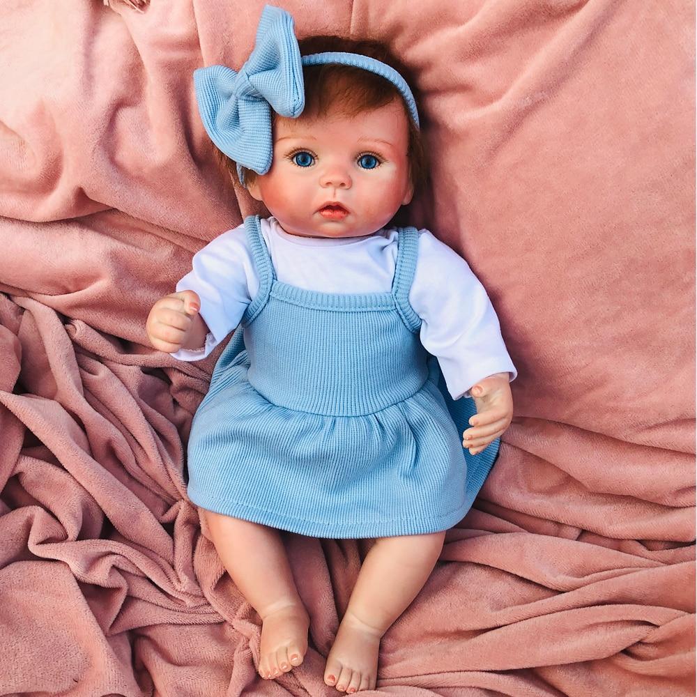 Pretty Blue Bow Girl Bebe Reborn Doll 38cm Soft Silicone Reborn Baby Dolls Alive Toddler Menina Children Surprice Gifts Toy Lol