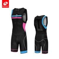 NUCKILY Men Triathlon Suit Sleeveless Body Set Bike Uniform Cycling Clothing Race Swimwear One Piece Ciclismo Ropa MQ011