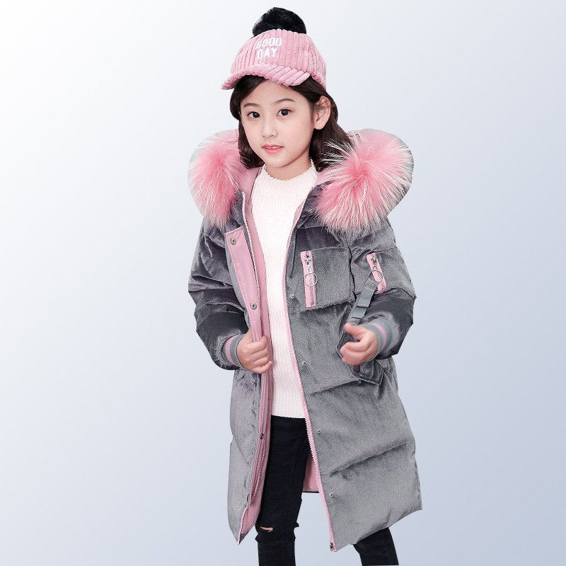 Winter Coat 2018 Fashion Fur Hooded Thick Cotton Down Warm Children Girls Clothes Long Kids Jacket Outwear for 8 10 12 14 Years стоимость