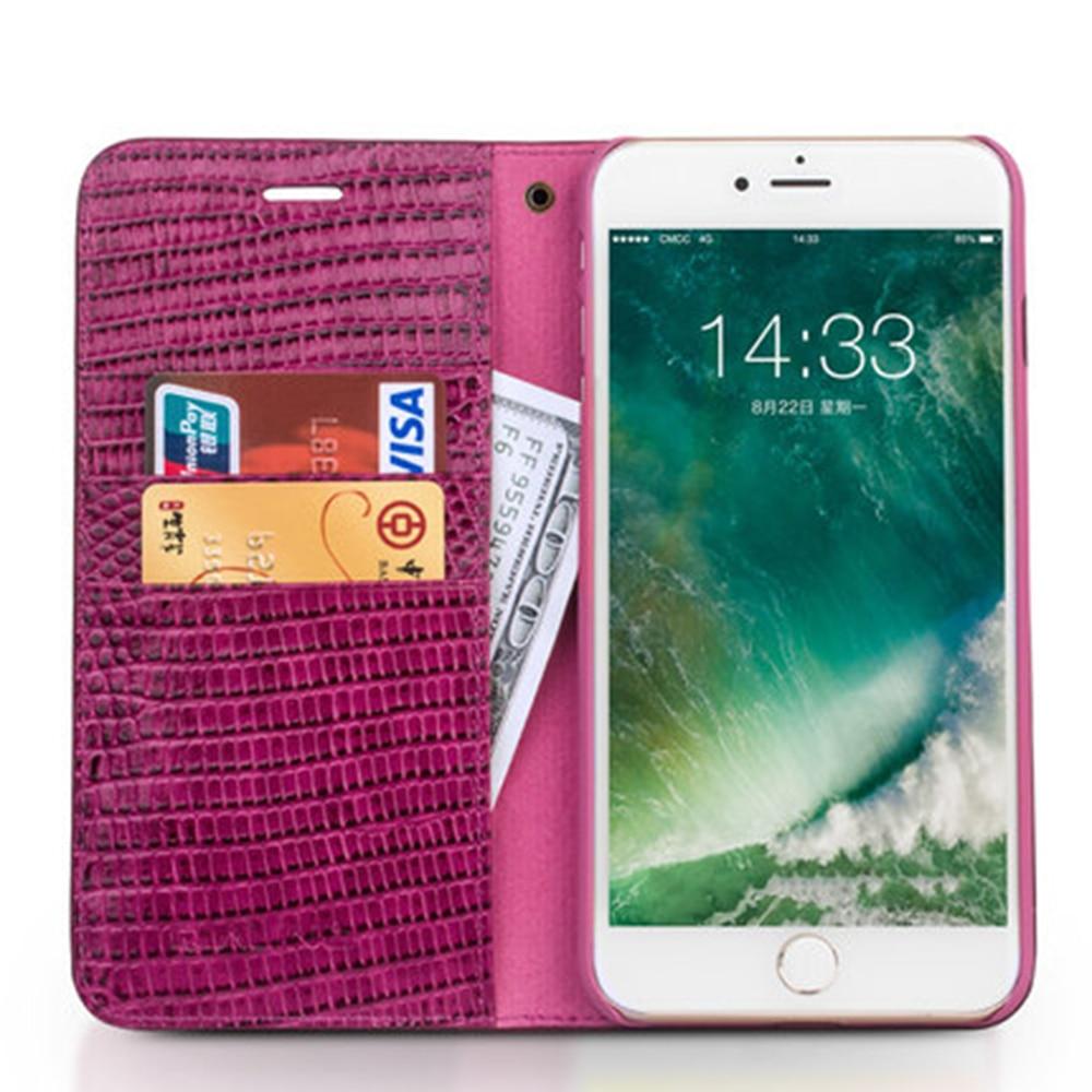 Pour iPhone X 6 6 s Plus 7 8 Plus housse de portefeuille Rose couleur Flip Folio sac en cuir véritable motif Alligator étui en cuir de vachette