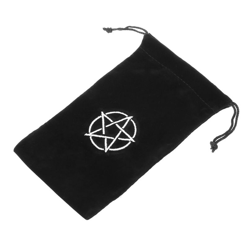 Velvet Pentagram Tarot Storage Bag Black ColorBoard Game Card Embroidery Drawstring Package