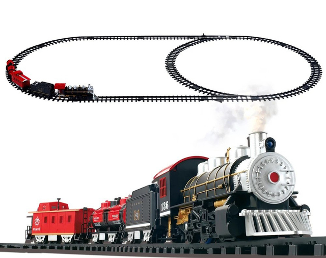 Electric electric train toy set with realistic sound light smoke classic toys for children 3 years above