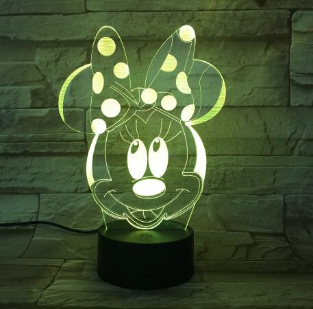 Cartoon Table Lamp With 3D Effect  LED Night Light Holiday Light Fun Light For Baby and Decoration Birthday Gift Girls Toy