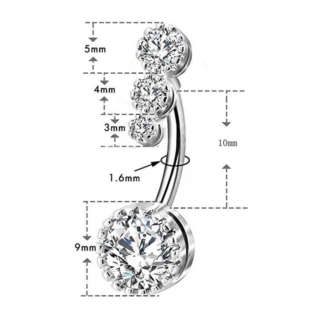 4 קריסטל CZs טבור טבעות 316L כירורגי פלדת טבור טבעות בטן פירסינג הברים Nombril Ombligo נשים גברים 1.6*10mm גוף תכשיטים