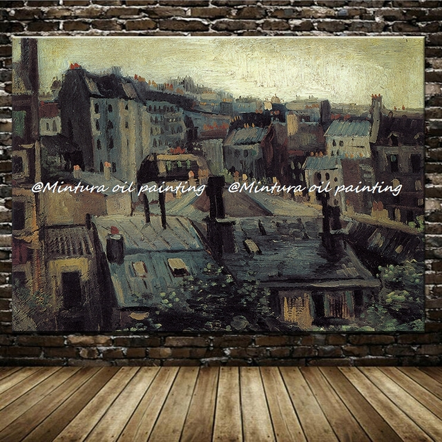 Roofs In Paris By Vincent Van Gogh Paintings Hand Made High Quality Reproduction Famous Oil Painting On Canvas Wall Art Pictures