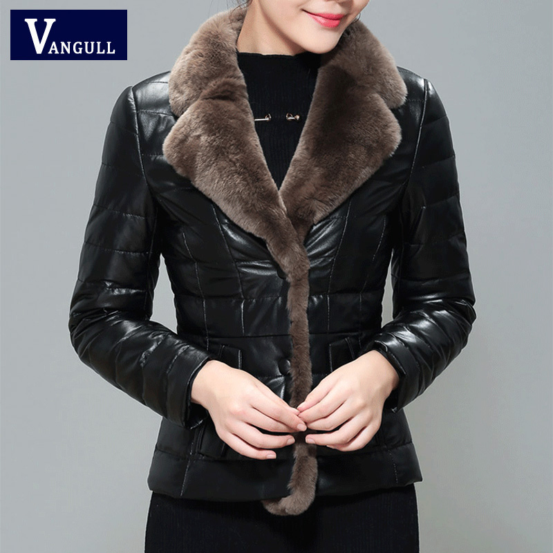 VANGULL Women's Down Jacket Coat Warm 2019 Fashion New PU Leather Wool Motorcycle Apparel Pilot Jacket Ladies Faux Fur Jacket
