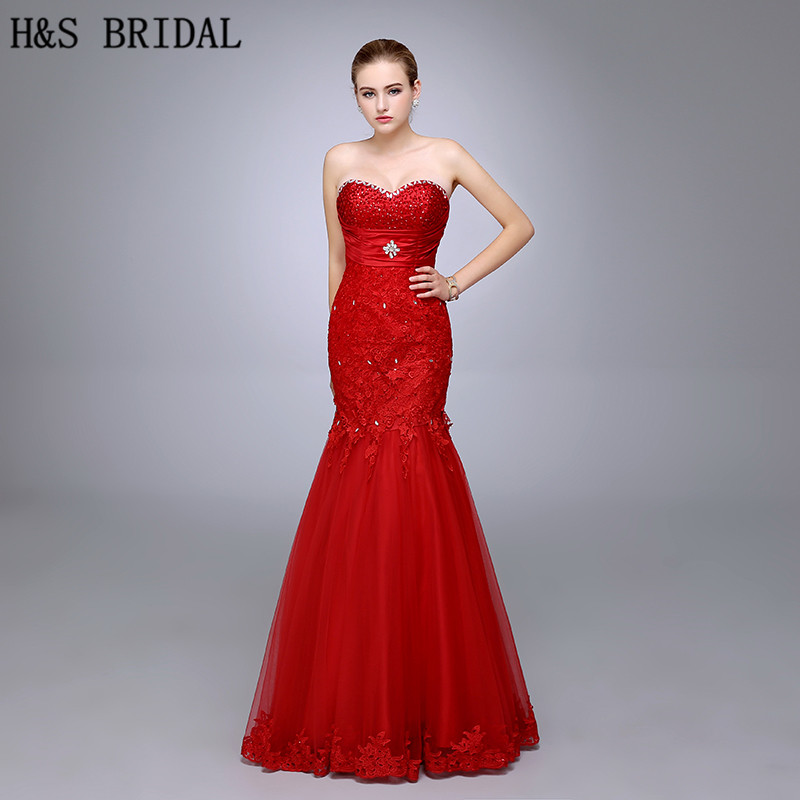 HS08 New Design Strapless Sweetheart High Quality Red Lace Beaded Mermaid   Prom     dresses