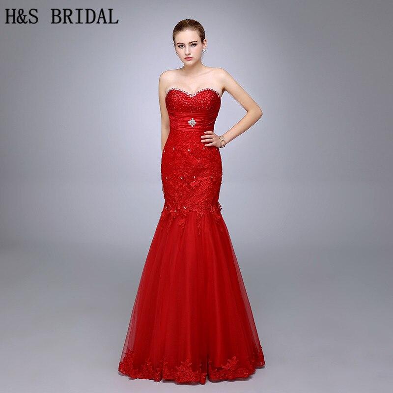 HS08 nouveau Design bretelles chérie haute qualité dentelle rouge perlée sirène robes de bal