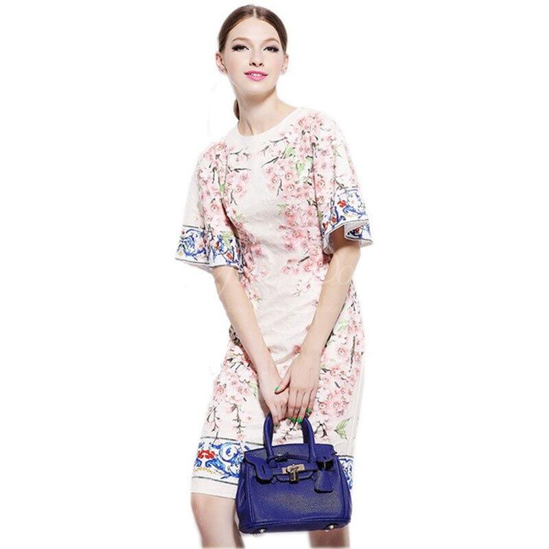 2018 Summer & Spring Fashion Marca Italy Sicília Impressão Apliques de Flores de Pêssego Flor Alargamento da Luva de Seda Vestido Magro Ocasional Das Mulheres