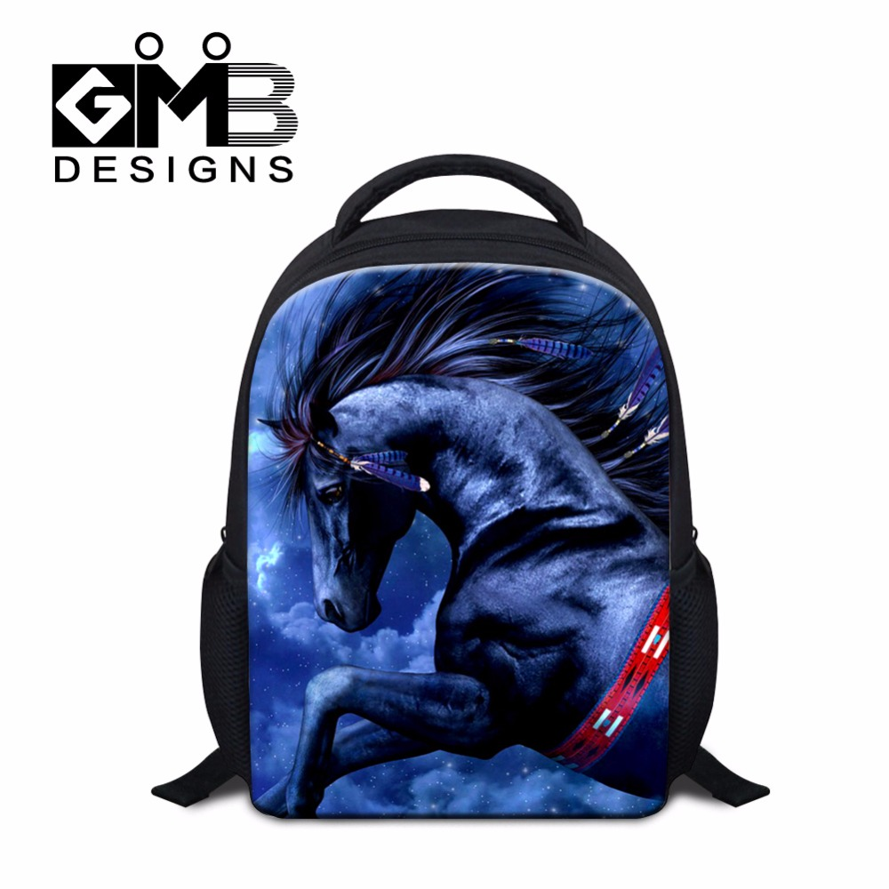 Cool Boys Small School Backpacks Horse printed Mini Back Pack for Kids Childrens Animal Backpacking Kindergarten School bags