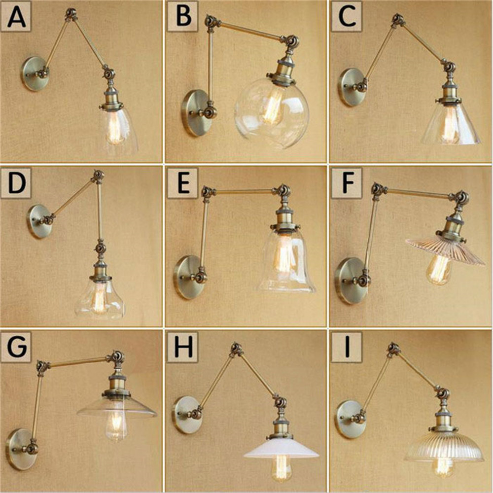 2017 new bronze wall lamp industrial wall art home lighting vintage swing arm wall sconce iron glass indoor lighting fixtures