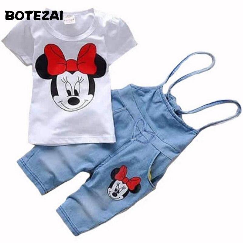 2017 Baby clothes Girls Cartoon Minnie suit Summer cotton Kids 2-pcs sets T Shirt+Jeans Overalls Girl Children Clothing Set