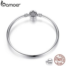 BAMOER Authentic 100% 925 Sterling Silver Snake Chain Bracelet & Bangle Pave Star Cubic Zirconia CZ DIY Jewelry(China)