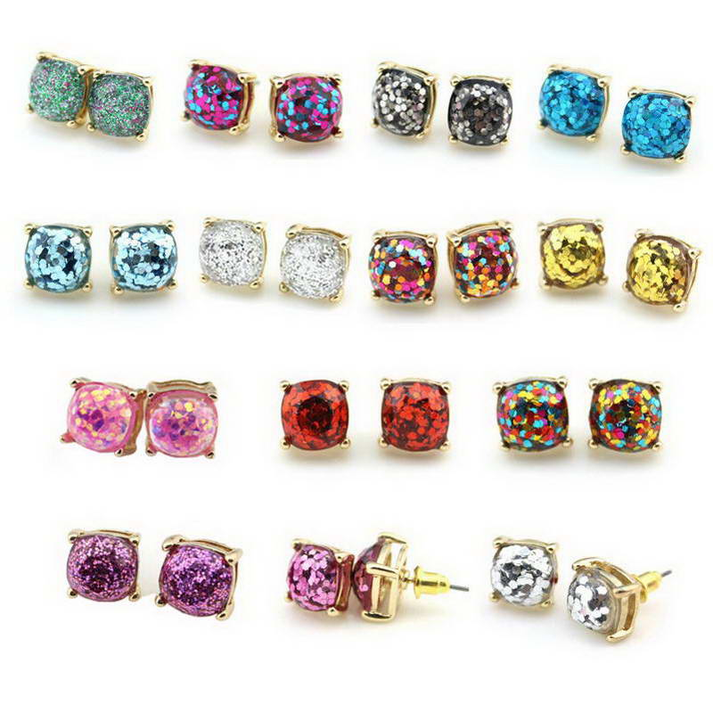 Pendientes de primavera Gold Rainbow Square Glitter Stud Pendientes 2018 Mujeres Moda Kate Brand Jewelry Party Dot Earrings Wholesale