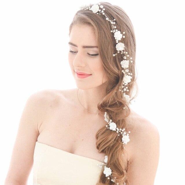 Mode Frauen Braut Gefalschte Perle Haar Reben Lange Haarteil